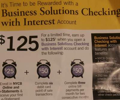 NYCB Business Checking Bonus