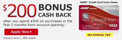 AARP Chase credit card 200