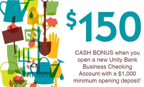 unity bank business checking bonus 150