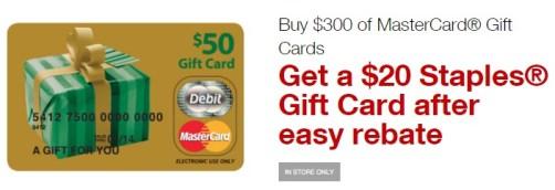 Staples 20 off 300 Mastercard