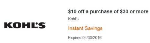 Kohl's 10 off 30