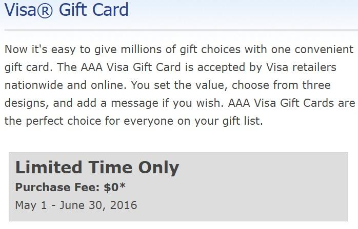 No Fee Visa Gift Cards From AAA Till 6/30 (YMMV) - Danny the Deal Guru