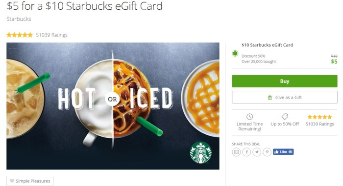 Starbucks eGift Card At Groupon