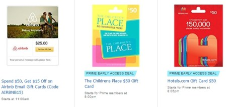 Gift Card Sale At Amazon Airbnb Childrens Place Hotels Com