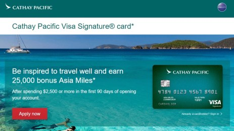 Cathay Pacific Visa Signature card