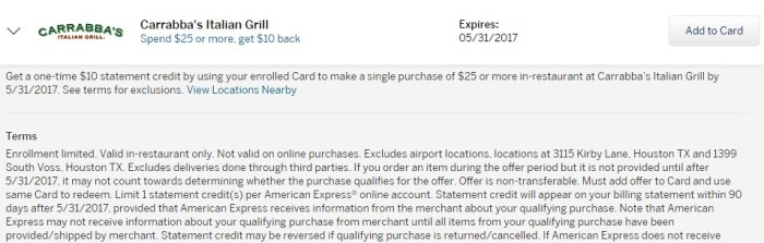 Amex Offer Carrabba's