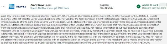 amex offer hotels