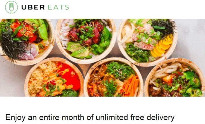 Free UberEATS Deliveries