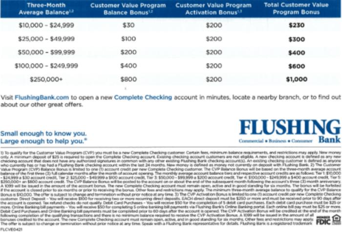 Flushing Bank Bonus