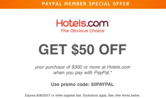 hotels.com paypal promo