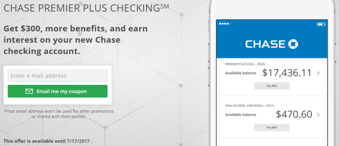 Chase, $300 Checking Account Bonus (Must Open In Branch) - Danny the