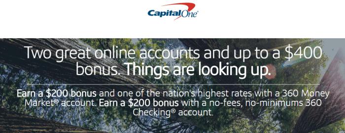 Capital One 360, $400 Bonus For Checking & Money Market