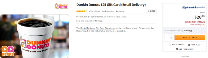 discounted dunkin donuts gift cards