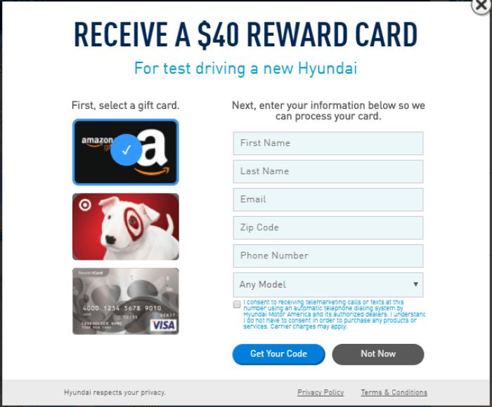 Hyundai test drive bonus