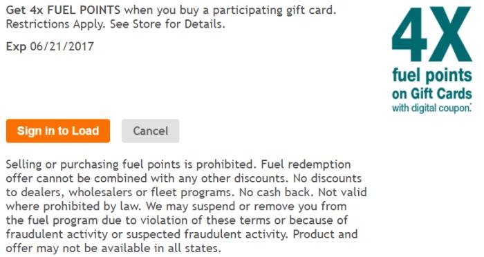 Kroger fuel points