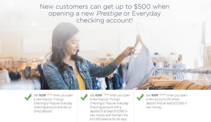 Popular Community Bank bonus 500