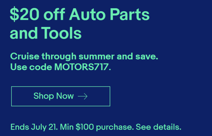 ebay auto parts sale