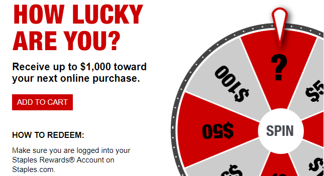 Staples $5 to $1000 Mystery Rewards, Check Your Emails
