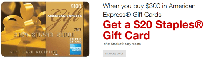 staples amex gift card offer