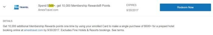 amex travel amex offer