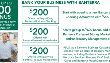 Banterra Bank busines checking bonus 400