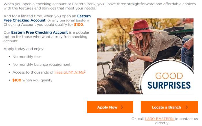 eastern bank 100 checking bonus