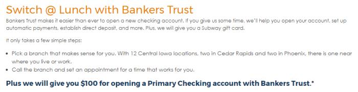 Bankers Trust 100 bonus