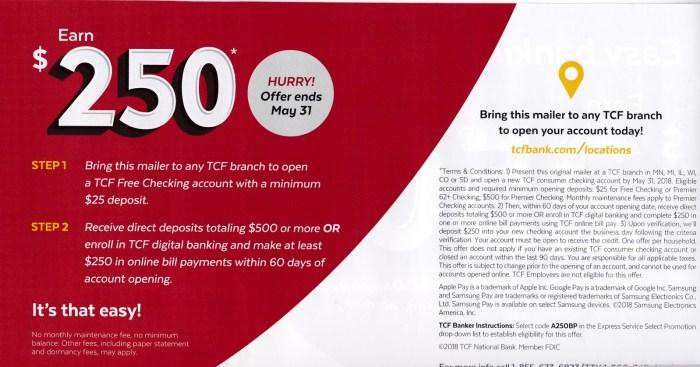 TCF Bank 250 bonus