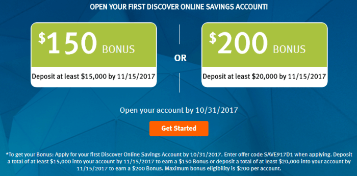 discover savings bonus 200