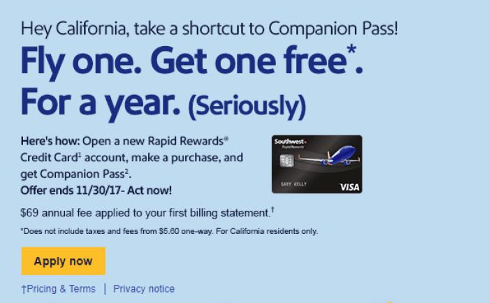 California Southwest Companion pass