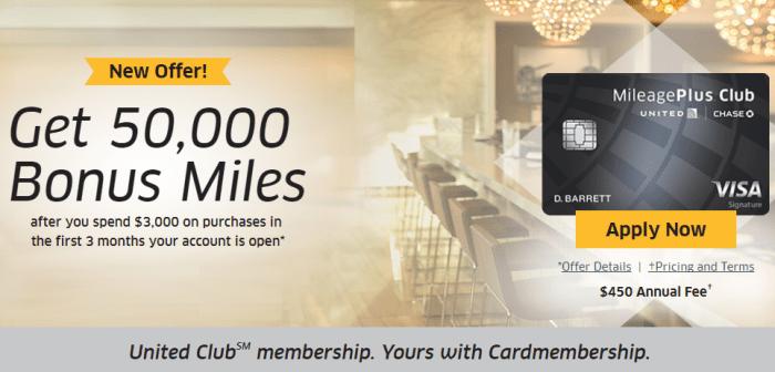 Chase United MileagePlus Club Card 50K