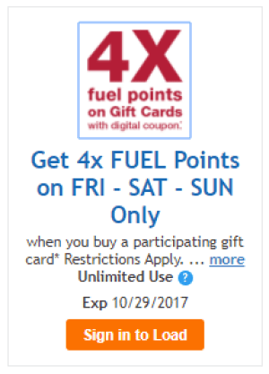 Kroger, 4X Fuel Points
