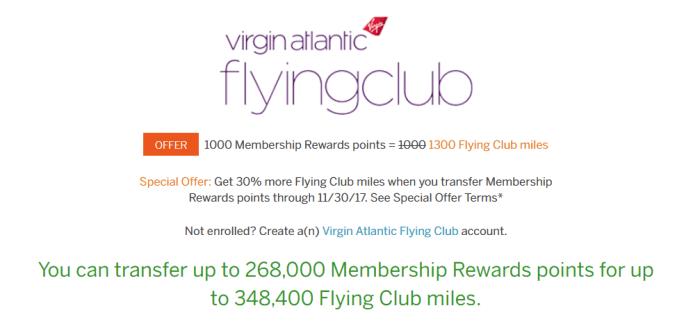 mr points virgin atlantic transfer bonus