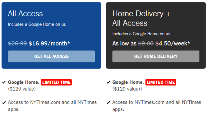Free google home with subscription to nyt danny for Style at home subscription deal