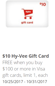 Hy-Vee Visa Gift Card Deal