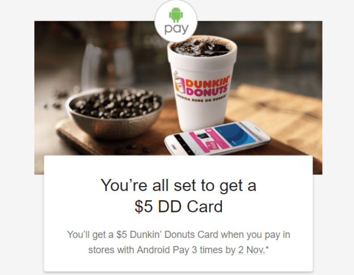 android pay dunkin donuts promo