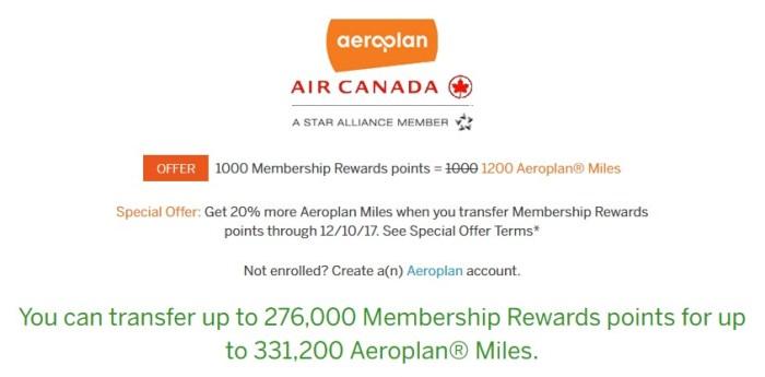 membership rewards aeroplan miles transfer bonus