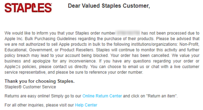 staples warning