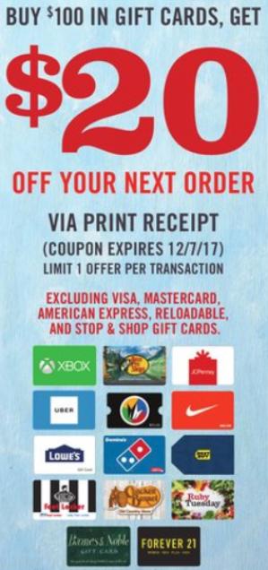 Gift Card Promo At Stop&Shop