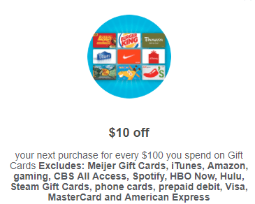 Meijer, Get $10 Towards Next Purchase When You Spend $100 On Gift Cards