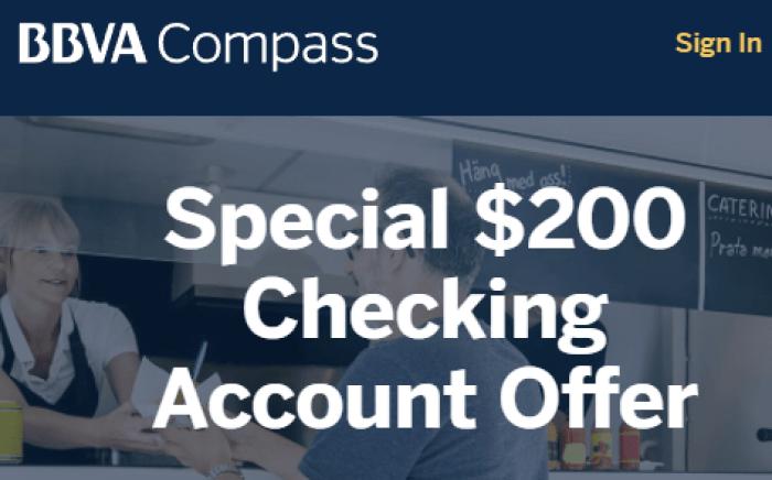 BBVA Compass $200 Checking Account Bonus