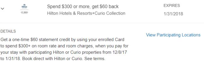 Hilton & Curio Amex Offer