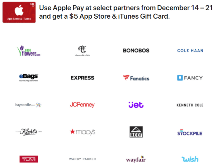 apple pay $5 itunes gift card