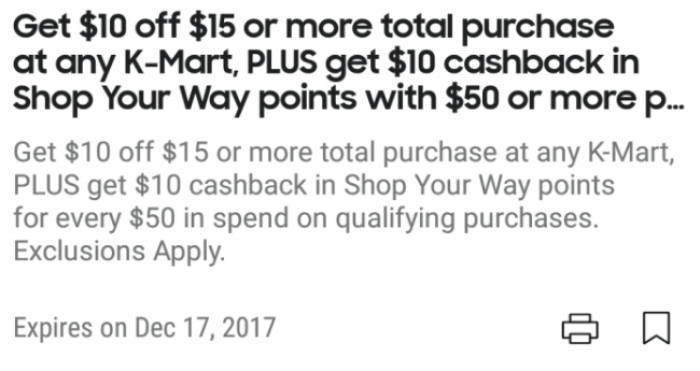 $10 Off $15 At Kmart And Sears