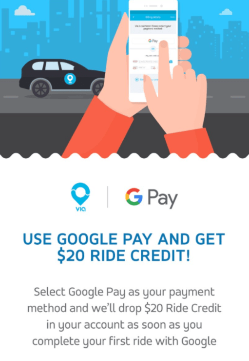 $20 Via Ride Credit with Google Pay
