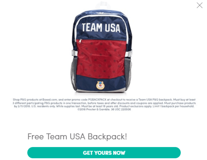 Boxed, Free Team USA Backpack