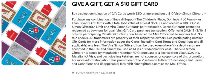 Simon Mall Gift Card Deal