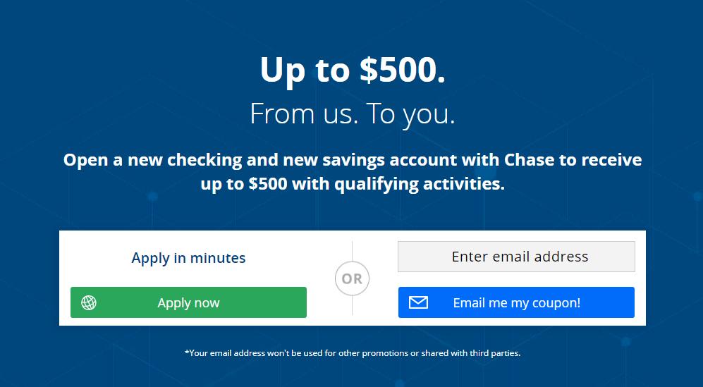 Chase Bank 525 Bonus For A New Checking And Savings
