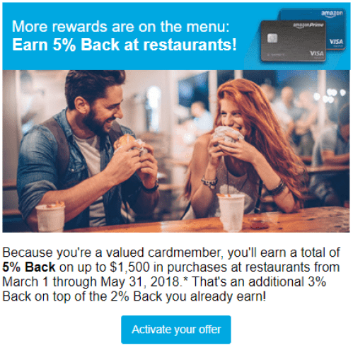 5% at restaurants with Chase Amazon