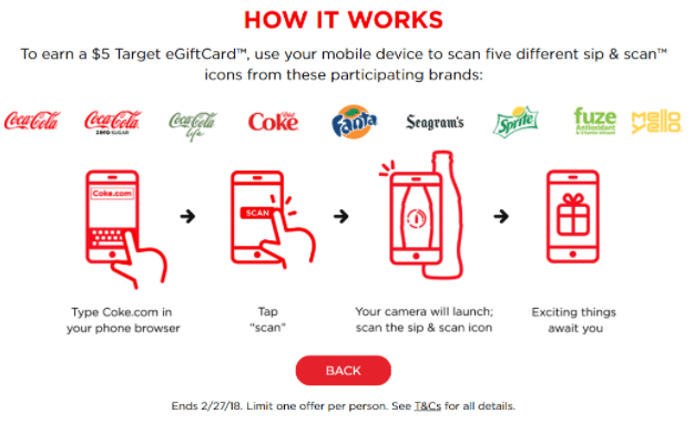 My Coke Rewards, Get $5 Target GC When You Scan 5 Items (No Purchase Necessary)